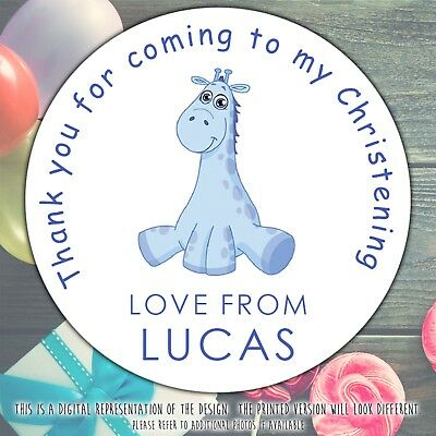 £2.39 • Buy Personalised Blue Giraffe Christening Party Round Stickers Labels Party Sheet