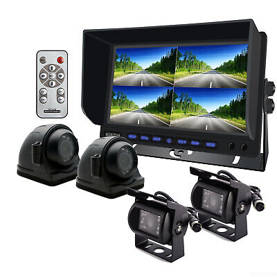 AU249.99 • Buy 9  Quad Monitor Rear View Security SYSTEM 4x 4Pin Metal CCD Camera For Truck Bus