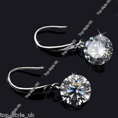 Silver Drop Round Crystal Diamond Rhinestone Earrings Xmas Gift For Her Women Q1 • 6.99£