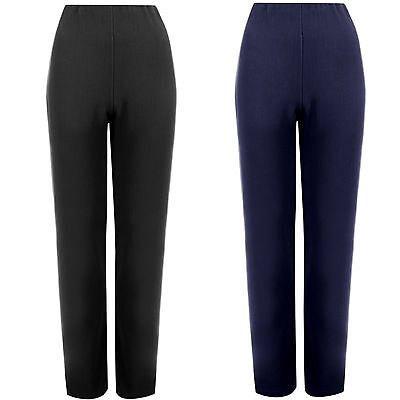 £7.99 • Buy Womens Straight Leg Trousers Ladies Stretch Finely Ribbed Pants Pull On Bottoms
