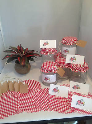 Red Gingham Jam Jar Covers With Free Gift Tags Labels, String & Elastic Bands X • 3.99£