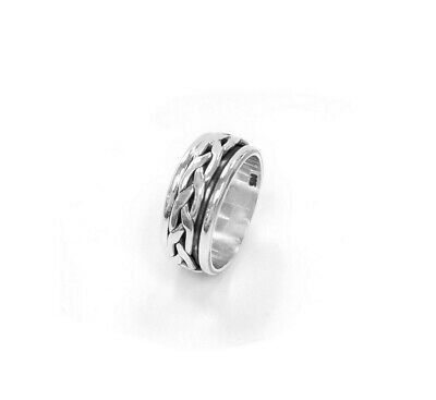 925 Sterling Silver Braided Men's Band Ring, Spinning Braided Men's Ring  • 15.74£