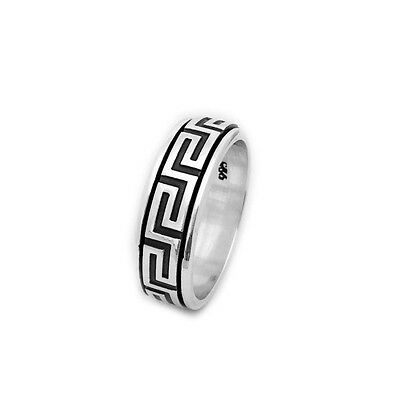 Men's Greek Sterling Silver Spinning Band Ring, .925 Men's Solid Band Ring • 19.75£