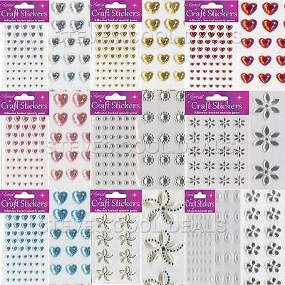 STICKERS CRAFT PEARL DIAMOND HEARTS FLOWER SPARKLY GEM CARD MAKING Self Adhesive • 2.48£