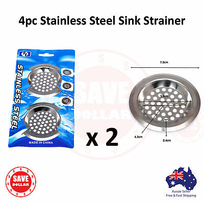 AU5.20 • Buy 4pc Stainless Steel Kitchen Basin Sink Strainer Drain Stopper Filter Food Plug