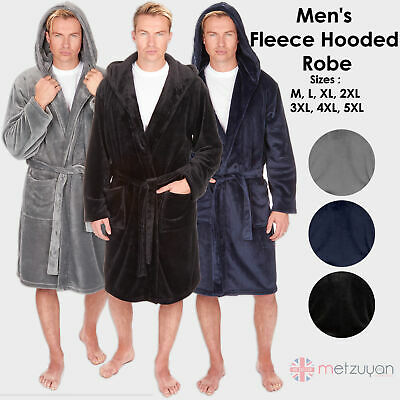 $30.57 • Buy Mens Flannel Fleece Fluffy Plush Hooded Dressing Gown Robe Fathers Day Gift Idea