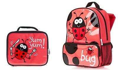 Bugzz LADYBIRD Girls Backpack Rucksack School Bag Insulated Lunch Box Childs  • 17£