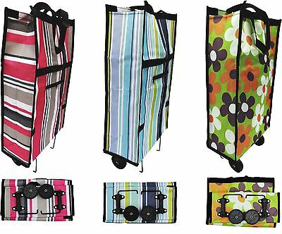 New Folding Shopping Trolley Bag Cart With Wheels Light Weight Compact Size • 7.99£