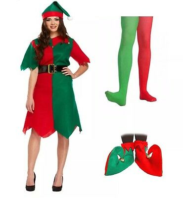 £11.99 • Buy Ladies Elf Christmas Costume 3 Pcs + Elf Boots And Tight Complete Xmas Outfit