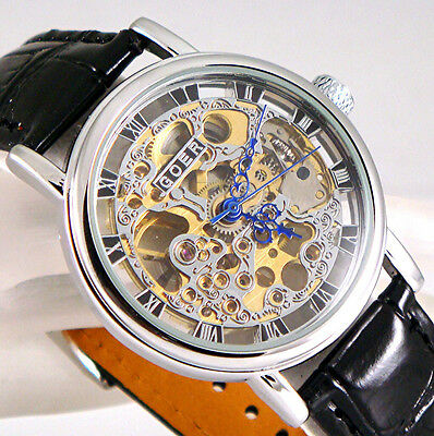£32.99 • Buy Silver Mechanical Wind-up Skeleton Steampunk Black Leather Heirloom Unisex Watch