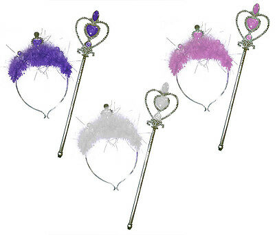Heart Tiara Headband & Wand Set Princess Feather Trim Jewelled Fairy Dress Up • 3.99£