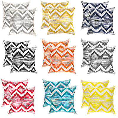 TreeWool, (2 Pack) Ikat Chevron Design Cotton Cushion Covers Pillowcases • 12.99£