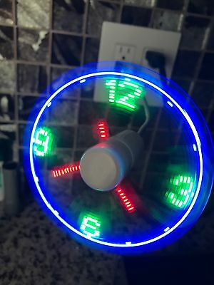AU12.17 • Buy SPTIME USB Powered LED Cooling Neon Real Time Display Function Clock Fan