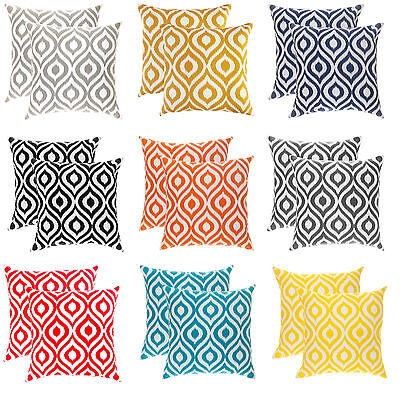 TreeWool, (2 Pack) Ikat Ogee Accent Decorative Cotton Cushion Covers Pillowcases • 15.99£