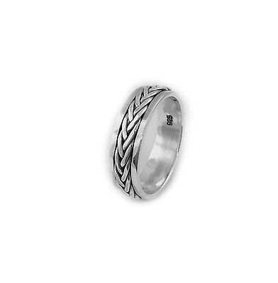 .925 Sterling Silver Braided Men's Spinning Ring, Solid Men's Band Ring • 16.82£