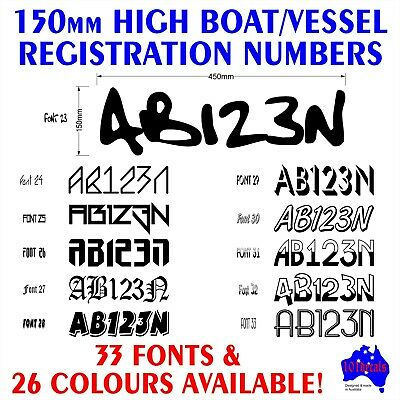 AU27.90 • Buy 2x150mm Fishing Boat REGISTRATION Rego Numbers Lettering Marine Decals Stickers