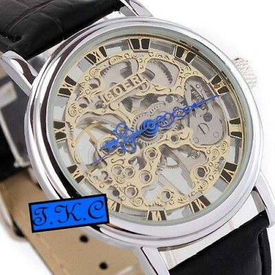 £32.99 • Buy Silver Heirloom Mechanical Wind-up Skeleton Steampunk Black Leather Unisex Watch
