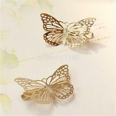 $ CDN1.74 • Buy 2PCS Filigree Butterfly Hair Clip Barrette Wedding Bride Headwear Accessories AU