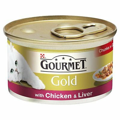 Gourmet Gold Cans Wet Cat Food Chicken & Liver Chunks In Gravy 12 X 85g CIG • 10.06£