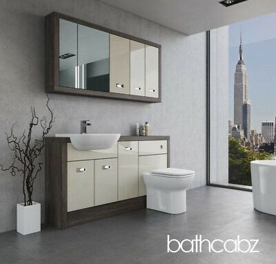 Bathroom Fitted Furniture Cream Gloss/mali Wenge A1 1500mm With Wall Units - Bat • 1,365£