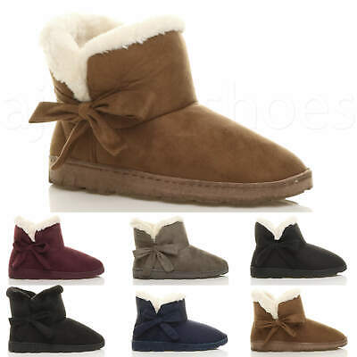 £12.99 • Buy Womens Ladies Flat Bow Pull On Cosy Fur Lined Ankle Boots Booties Slippers Size