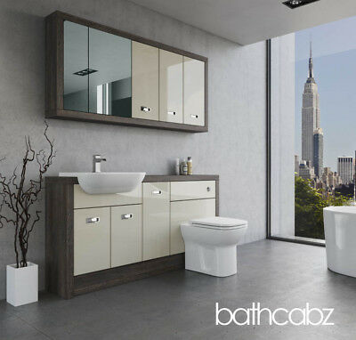 Bathroom Fitted Furniture Cream Gloss/mali Wenge A1 1600mm With Wall Units - Bat • 1,435£