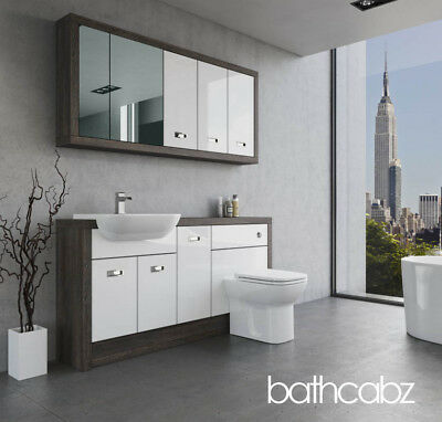 Bathroom Fitted Furniture White Gloss/mali Wenge A1 1600mm With Wall Units - Bat • 1,435£