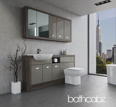 Bathroom Fitted Furniture Latte Gloss/mali Wenge A3 1700mm With Wall Units - Bat • 1,555£