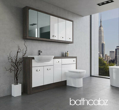 Bathroom Fitted Furniture White Gloss/mali Wenge A1 1700mm With Wall Units - Bat • 1,530£