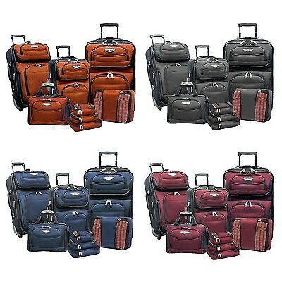 View Details Amsterdam 8-Piece Light Expandable Rolling Luggage Suitcase Tote Bag Travel Set • 119.99$