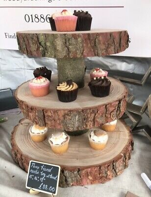 £93 • Buy Three Tiered Rustic Wooden Wedding Cake/ Cup Cake Stand, Centre Piece, 15  Base