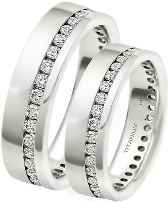 His And Hers 7mm Classic Titanium Wedding Engagement Band Ring Set • 49.99£
