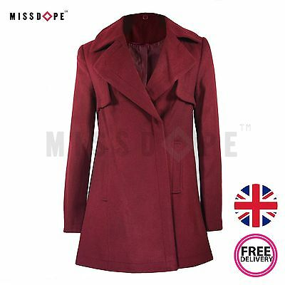 New Wool Maroon Coat Womens Red Parka Long Double Breast Ladies Trench Winter  • 24.99£
