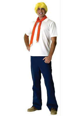Adult Scooby Doo Fred Fancy Dress Cartoon Costume White Blue & Red • 38.49£