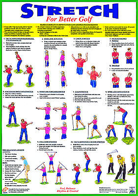 Golf Poster Golf Warm Up Exercise Training Chart • 12.99£