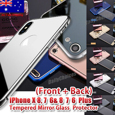 AU6.94 • Buy Colour Mirror Tempered Glass Screen Protector IPhone X/8/7/6 Plus Front Back Set