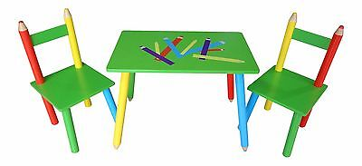 Pencil Crayon Themed Childrens Wooden Table And Chair Set Kids Toddlers Childs  • 39.99£