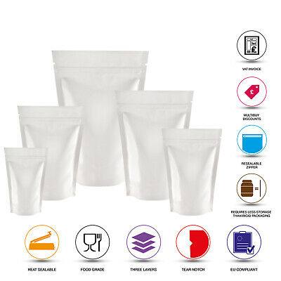 White Shiny Stand Up Pouches Mylar Foil Bag Heat Seal Food Grade Zip Lock Bags • 1.99£