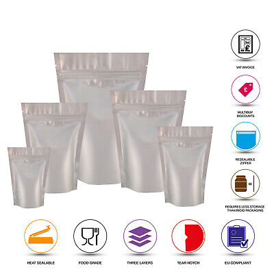 Silver Matt Stand Up Pouches Mylar Foil Bag Heat Seal Food Grade Zip Lock Bags • 2.11£