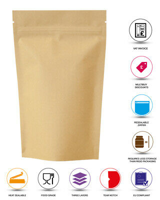 Kraft Brown Paper Foil Zip Lock Bags Food Nuts Stand Up Pouches Grade Heat Seal  • 1.99£