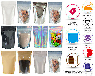 One Side Clear Stand Up Pouch Bags Sealable Pouch Zip Lock Seeds Bags Coffee Bag • 6.99£