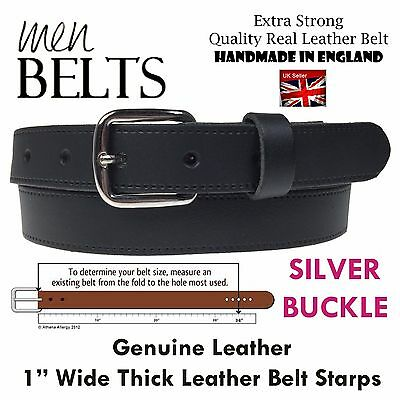 Set 2 Pcs Black Handmade Jeans Trouser 1  Inch Wide Strong Thick Leather Belt • 9.99£