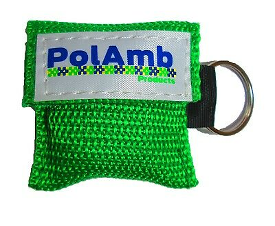 CPR Life Key (Green) / Resusitation Face Shield In Key Ring Pouch Ambulance 999 • 2.99£