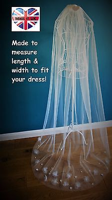 Wedding Veil *Chapel Length*1 Tier*Off White/ Ivory*Floral/Pearl/Crystal* • 35.99£