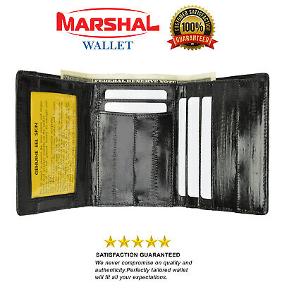 $19.99 • Buy New Eel Skin Leather Trifold ID Style Credit Card Holder Wallet Outside ID