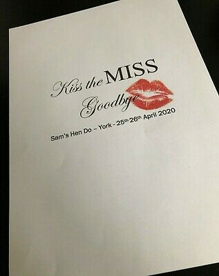 Kiss The Miss Goodbye A4 Print - Hen Party Keepsake, Activity, Bride To Be • 2.35£