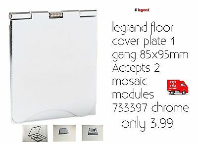 Legrand Floor Cover Plate 1 Gang 85x95mm Accepts 2 Mosaic Modules 733397 Chrome • 3.99£