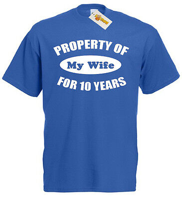 Property Wife 10 Years T-Shirt 10th Wedding Anniversary Gift For Men Him Husband • 9.99£