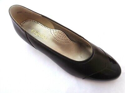 Equity Felicity Bronze Patent Brown Leather Low Heel Court Shoes Uk7.5e Wide Fit • 24.99£