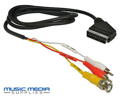 SCART To BNC Input And 2 Twin RCA/Phono Audio Video Cable Lead AV VCR CCTV • 3.99£